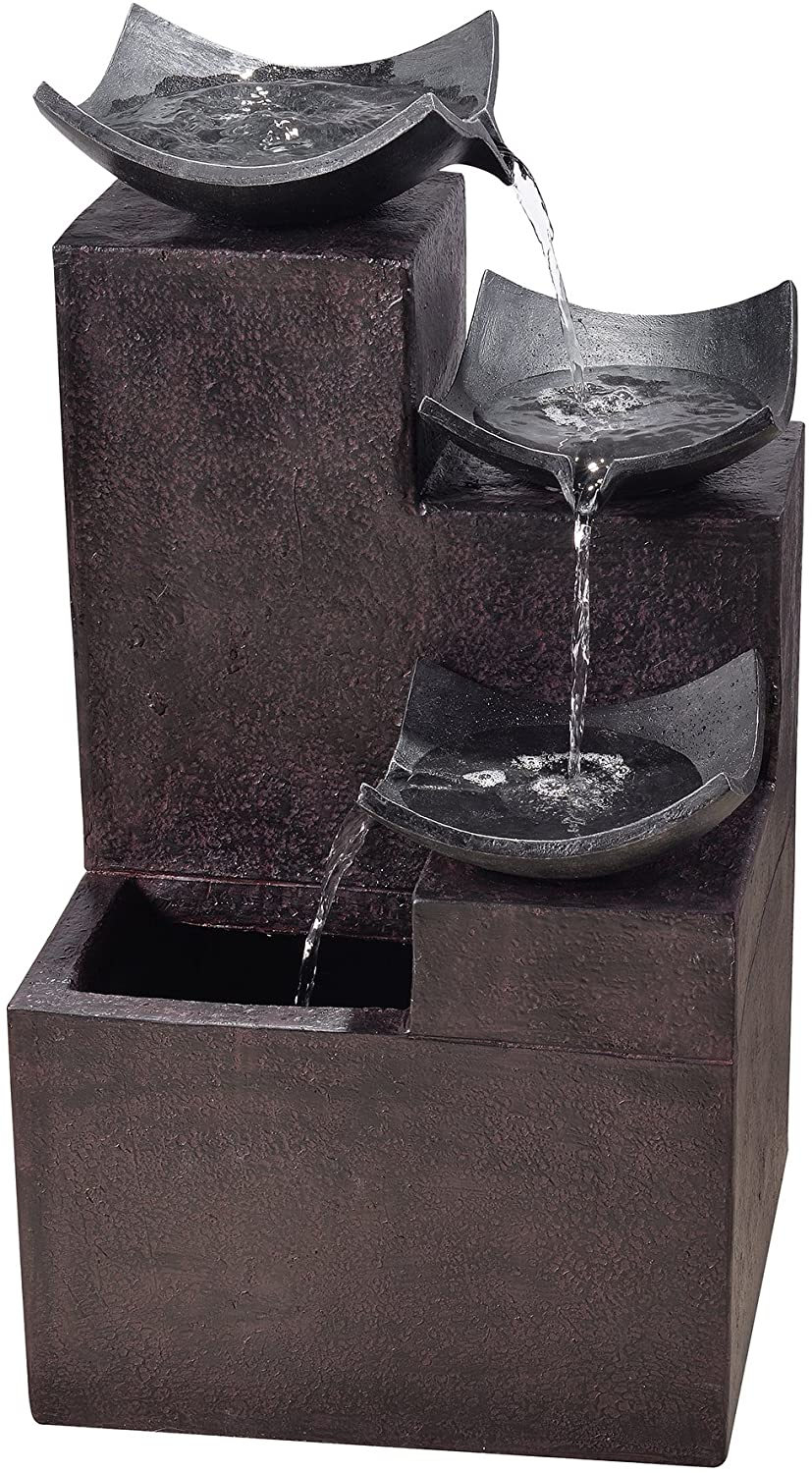 "Peaktop Outdoor Garden Tiered Modern Zen Fountain, 29"" Height, Dark Gray"