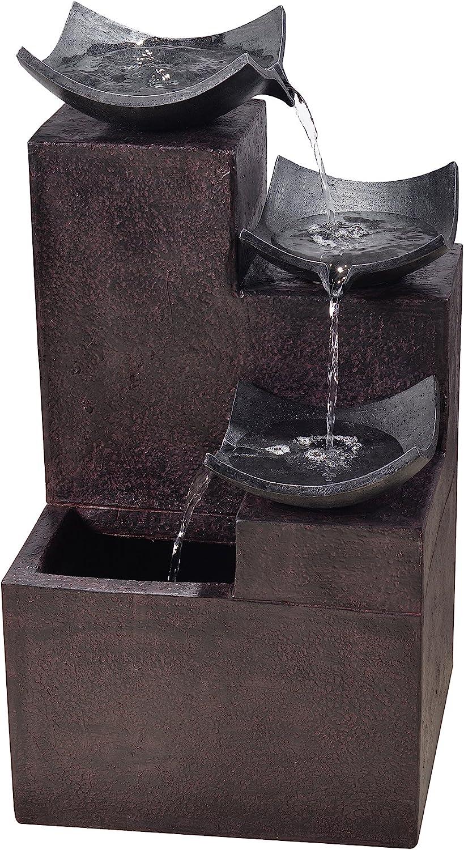 """Peaktop Outdoor Garden Tiered Modern Zen Fountain, 29"""" Height, Dark Gray"""
