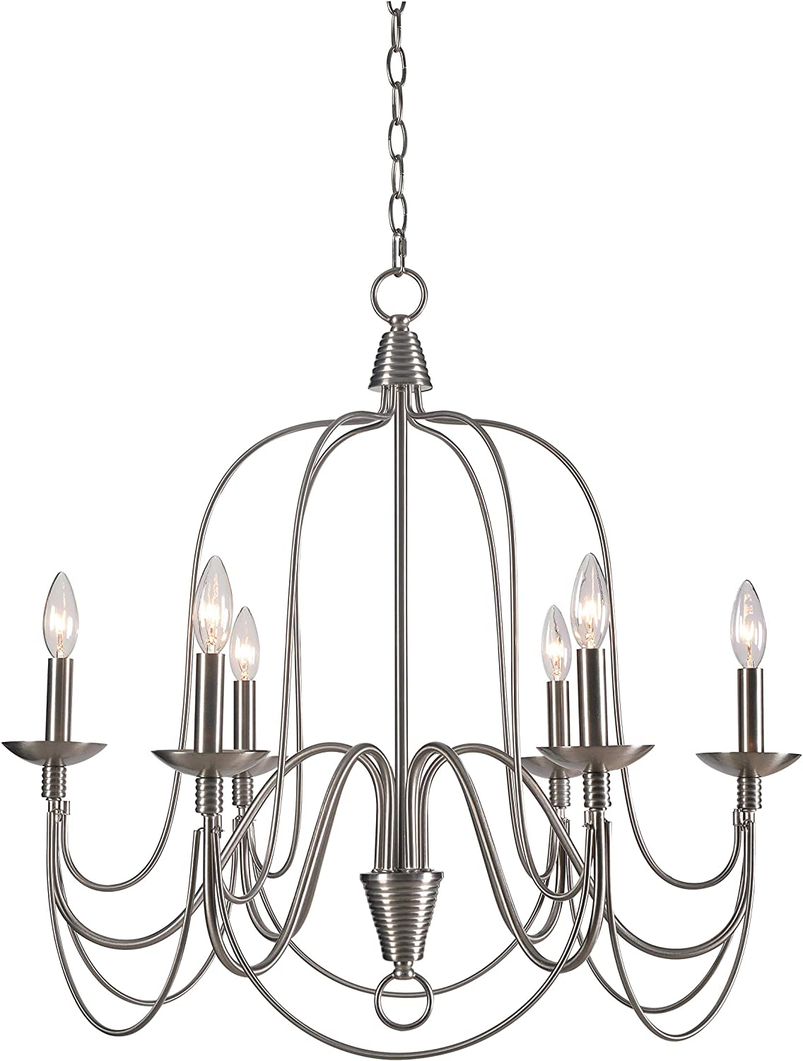 Kenroy Home Classic 6 Light Chandelier ,26.5 Inch Height, 26.5 Inch Diameter with Brushed Steel Finish