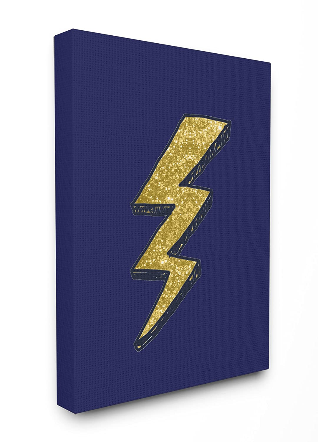 Stupell Home D/écor Graphic Lightning Bolt Gold and Navy Stretched Canvas Wall Art Proudly Made in USA 16 x 1.5 x 20