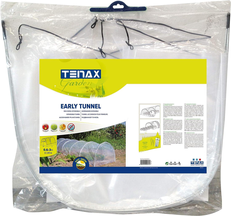 Mini Serra per Orto 0,60x0,45x3 m tenax Early Tunnel Estensibile con Film Protettivo Trasparente e Archetti Metallici
