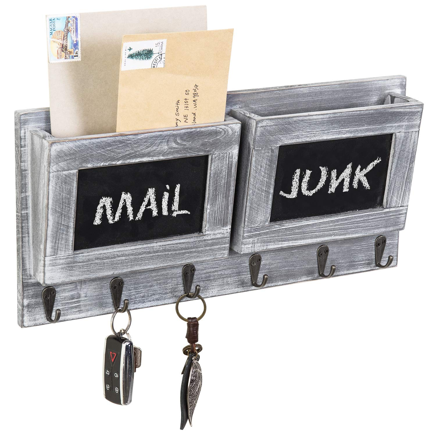 MyGift 2-Slot Rustic Wall-Mounted Wood Mail Holder with 6 Key Hooks and Chalkboard Labels