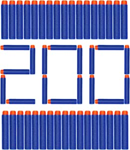 AUKND 200Pcs Nerf Bullet Refill Darts Premium Foam Bullets Pack Compatible for Nerf N-Strike Elite Guns, Universal Dart Ammo Pack, Firm and Safe Nerf Toy Guns Accessories, 7.2cm - Blue