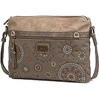 Lois - Bolso de Mujer pequeño con 2 Asas largas y Bandolera. Cuero PU y Lona Bordada. para Paseo Compras o Viaje. diseño…