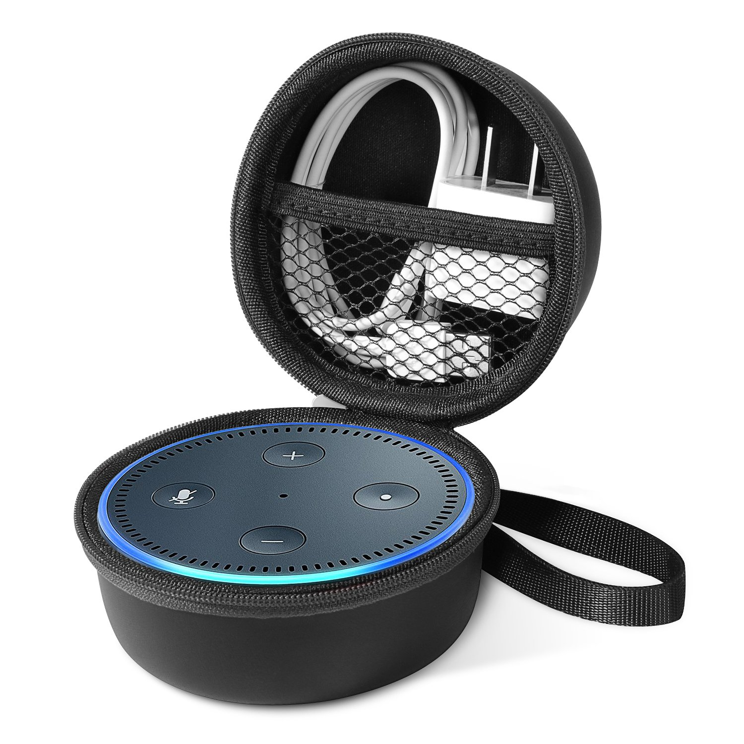 Echo Dot Case, Carry Travel Zipper Portable Protective Case Cover Bag Box for Amazon Echo Dot and All-New Echo Dot (2nd Generation), fit with USB Cable and Wall Charger (Black)