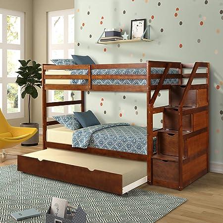 Litera individual con tronco, Top Unikes de madera maciza con cajones de almacenamiento y escalera: Amazon.es: Hogar