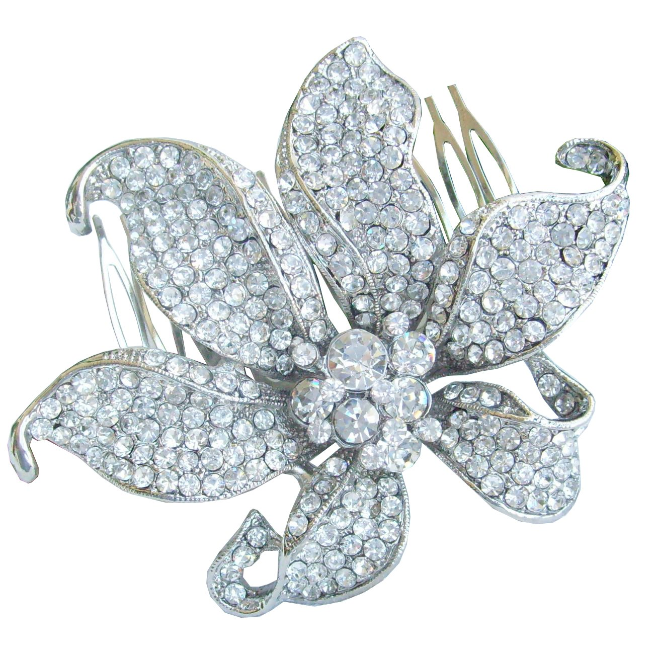 Sindary 3.74 Inch Silver-tone Clear Rhinestone Crystal Flower Hair Comb Wedding Headpiece