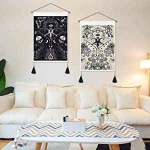 Livole 2 Pack Tarot Tapestry Moth Floral Tapestry Insects Butterfly Tapestry Black and White Skull Tapestry Sun Moon Tapestry Wall Hanging for Room (13.8 X 19.7 inches)