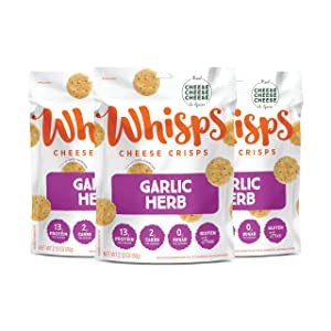 Whisps Garlic Herb Parmesan Cheese Crisps | Back to School Snack, Keto Snack, Gluten Free, Zero Sugar, Low Carb, High Protein | 2.12oz (3 Pack)