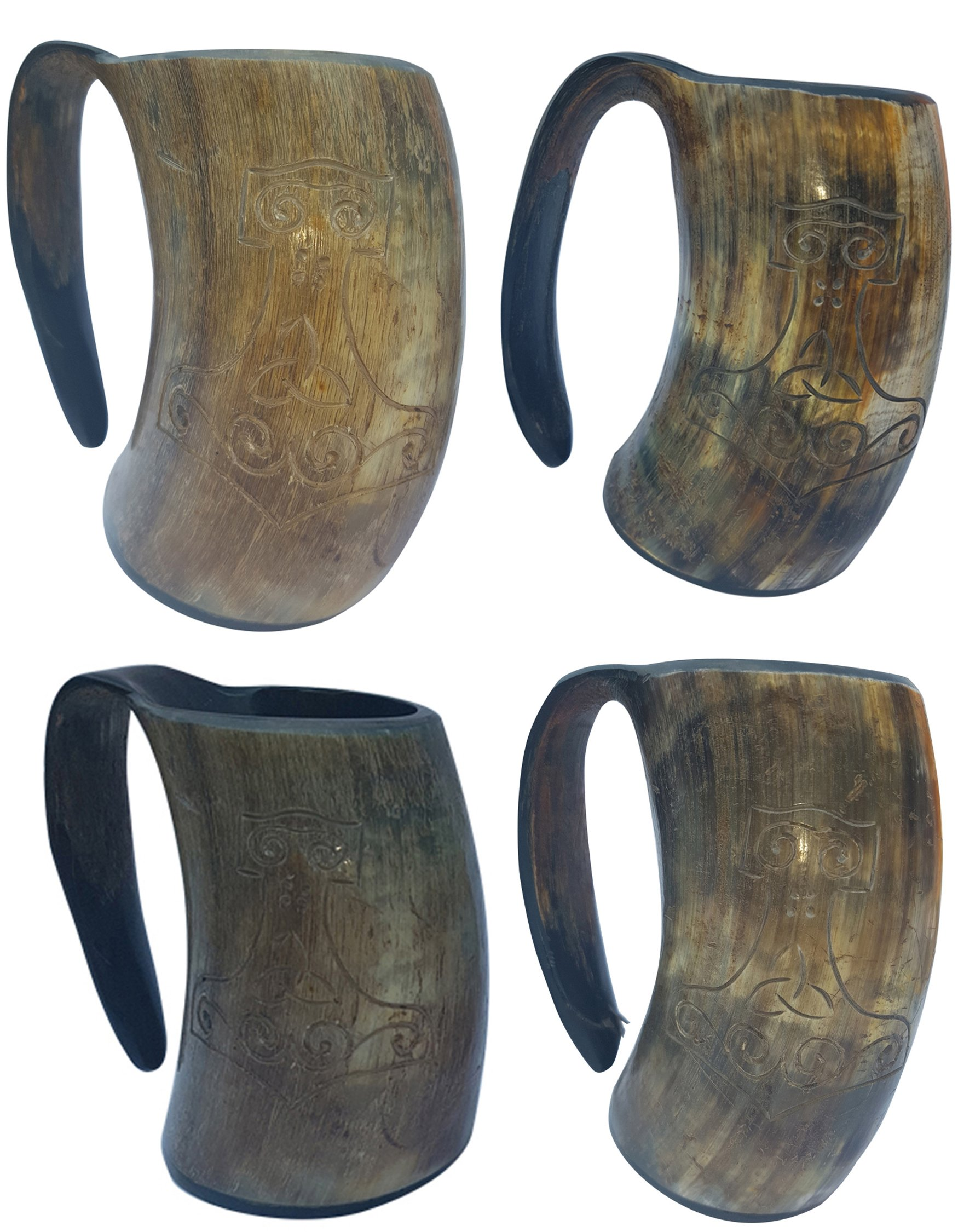 Most Popular In U.S. & Europe THOR'S Hand Engraved Pair of Handcrafted XL Handmade 6'' Tall Game of Thrones'' style Drinking Viking Horn 16 oz For Beer Wine and Cold Drink