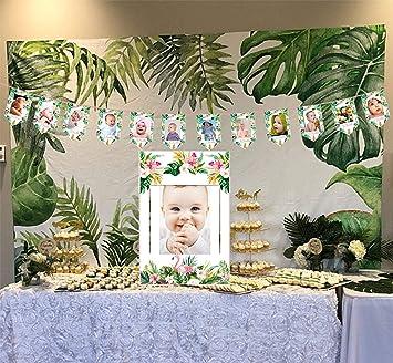 Sayala 12 Meses bebé Primer año Marco Foto Banner Guirnalda,Tropical Hawaiian Luau Hibiscus Diseño guirlada Fotos para Decoración Fiestas Cumpleaños ...