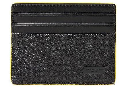 5b04eaab432e6d Michael kors Jet Set Logo ID Card Case - Black /Yellow at Amazon Men's  Clothing store: