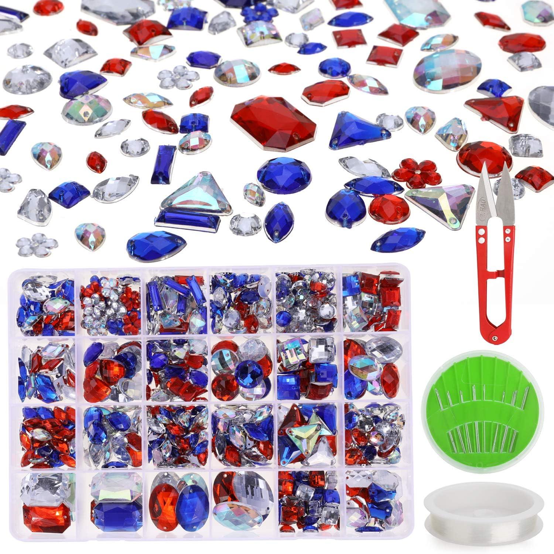 MWOOT 700 Piezas Diamantes de Acrílicas para Decorar Prendas Ropa Manualidades, Kit de Piedras Decorativas (Varios Tamaños y Formas) con Tijera de Costura, Agujas y Cordón, Colorido Perlas