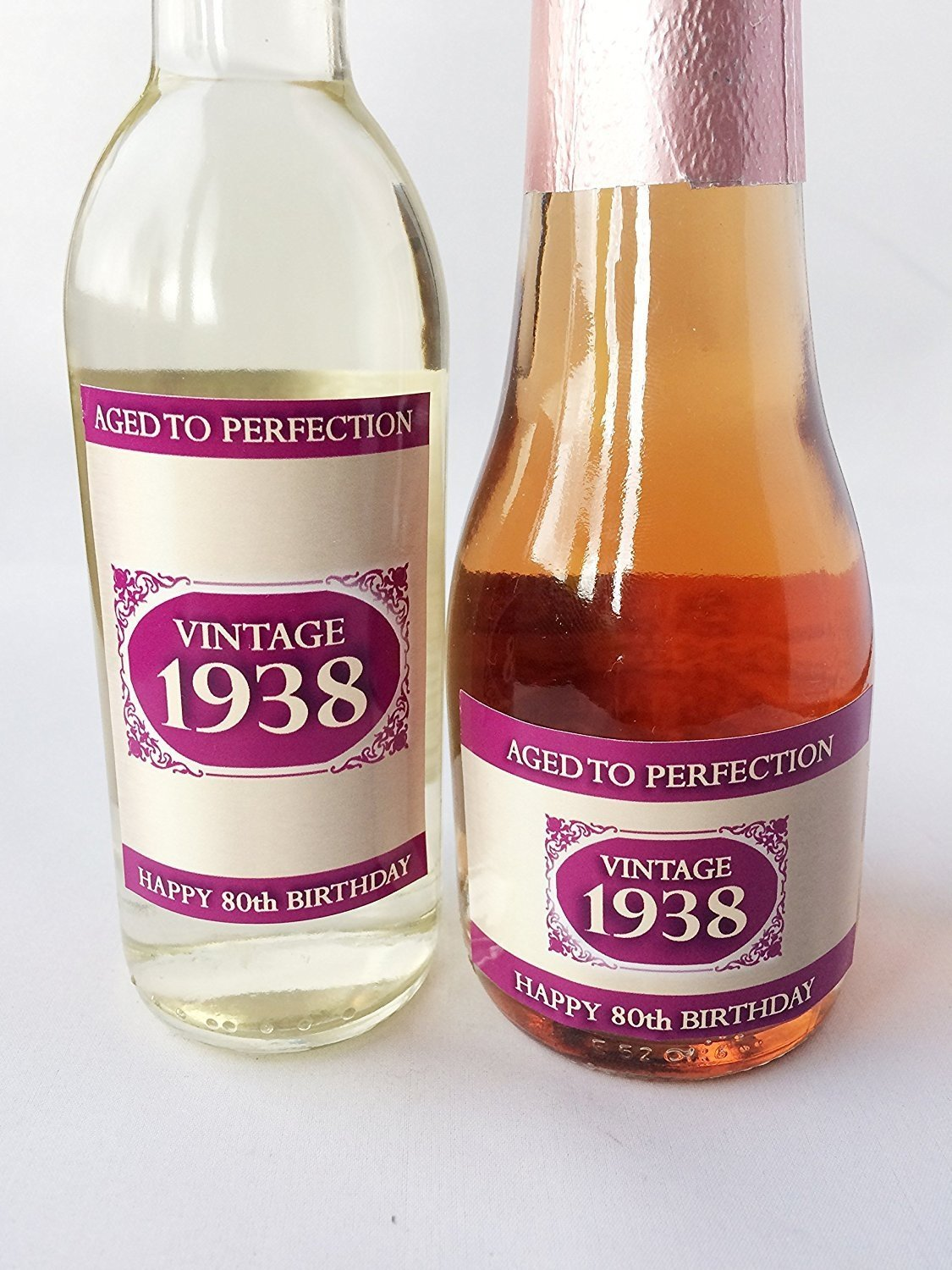 1938 Vintage Pink Happy 80th Birthday 2018 MINI Wine, MINI Champagne Bottle Label Gift Present … (Mini Champagne Label) Purple Products