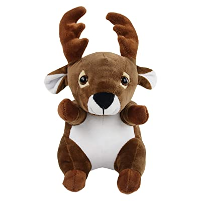 Bstaofy Stuffed Elk Animal Reindeer Moose Plush Dark Brown Cute Soft Toy Cuddly Huggable Gift for Kids on Birthday Christmas Festival Occasions, 11'',(Style 2): Toys & Games