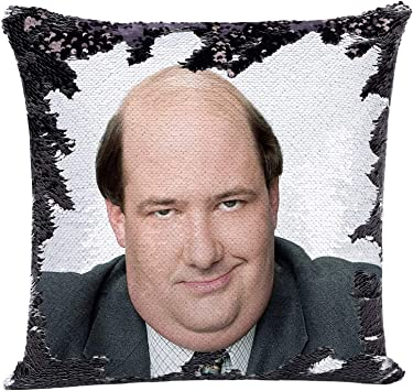 The Office Merch Sequin Pillow Cover Kevin Malone Throw Pillow