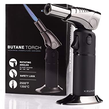 Krunset Butane Torch - Kitchen Blow Torch Cooking - Creme Brulee Torch – Chef Culinary Food Hand Torch Lighter Refillable with Adjustable Flame & Safety Lock
