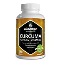 Curcuma + Curcumina Piperina ad alto dosaggio + Vitamina C in capsule, 120 capsule vegan, prodotto di qualità tedesca! Confezione unica (1 x 105,6 g)