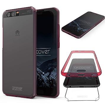 Urcover® Huawei P10 Funda Versión Mejorada Funda Carcasa Huawei P10 [Completa 360 Grados ] TPU Crystal Clear Case suporto Qi Móvil Smartphone Fucsia