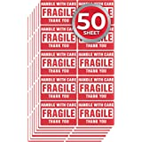 enKo - 2 x 3 Inch Fragile Stickers Handle with Care Warning Packing Shipping Label - Permanent Adhesive (50 Sheet, 500 Labels