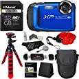 "Fujifilm FinePix XP90 Waterproof digital camera (Blue), 32GB Class 10, Memory Card Reader, 12"" Tripod, Camera Case, Polaroid Floating Foam Strap Red, Polaroid Cleaning Kit & Accessory Bundle"