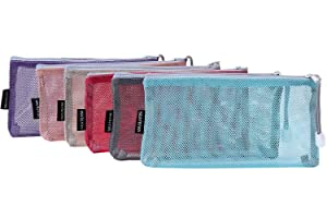 Sea Team 6pcs Multicolored Portable Travel Toiletry Pouch Nylon Mesh Cosmetic Makeup Organizer Bag with Zipper