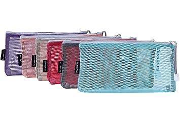 35cb2a5224f1 Amazon.com : Sea Team 6pcs Multicolored Portable Travel Toiletry Pouch  Nylon Mesh Cosmetic Makeup Organizer Bag with Zipper : Beauty