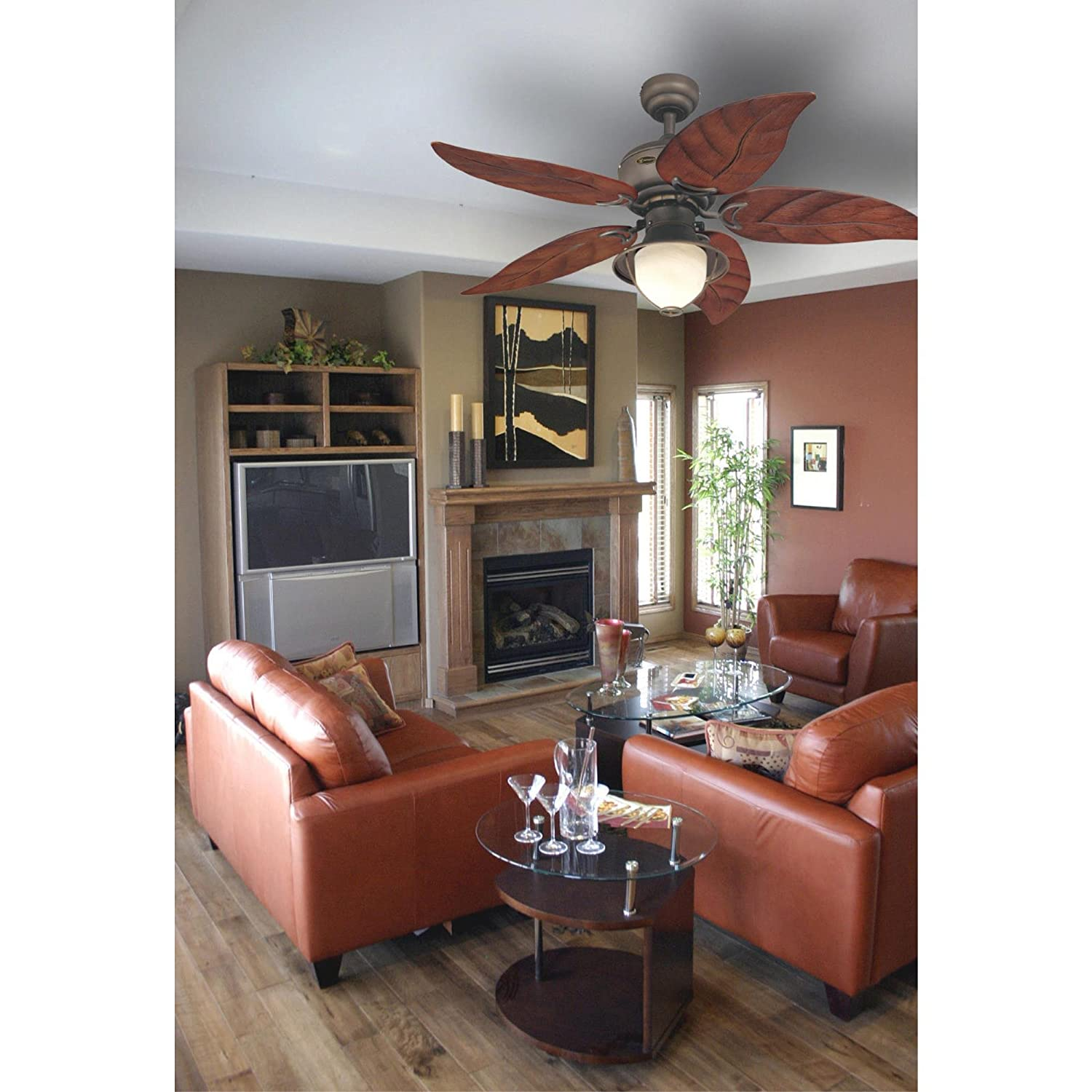 Oil Rubbed Bronze with Yellow Alabaster Glass Westinghouse 7861920 Oasis Single-Light 48-Inch Five-Blade Indoor//Outdoor Ceiling Fan