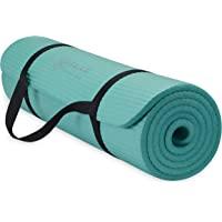 """Gaiam Essentials Dikke yogamat fitness- en oefenmat met gemakkelijk te knijpen yogamat draagband, 72 """"L x 24 """"W x 2/5…"""