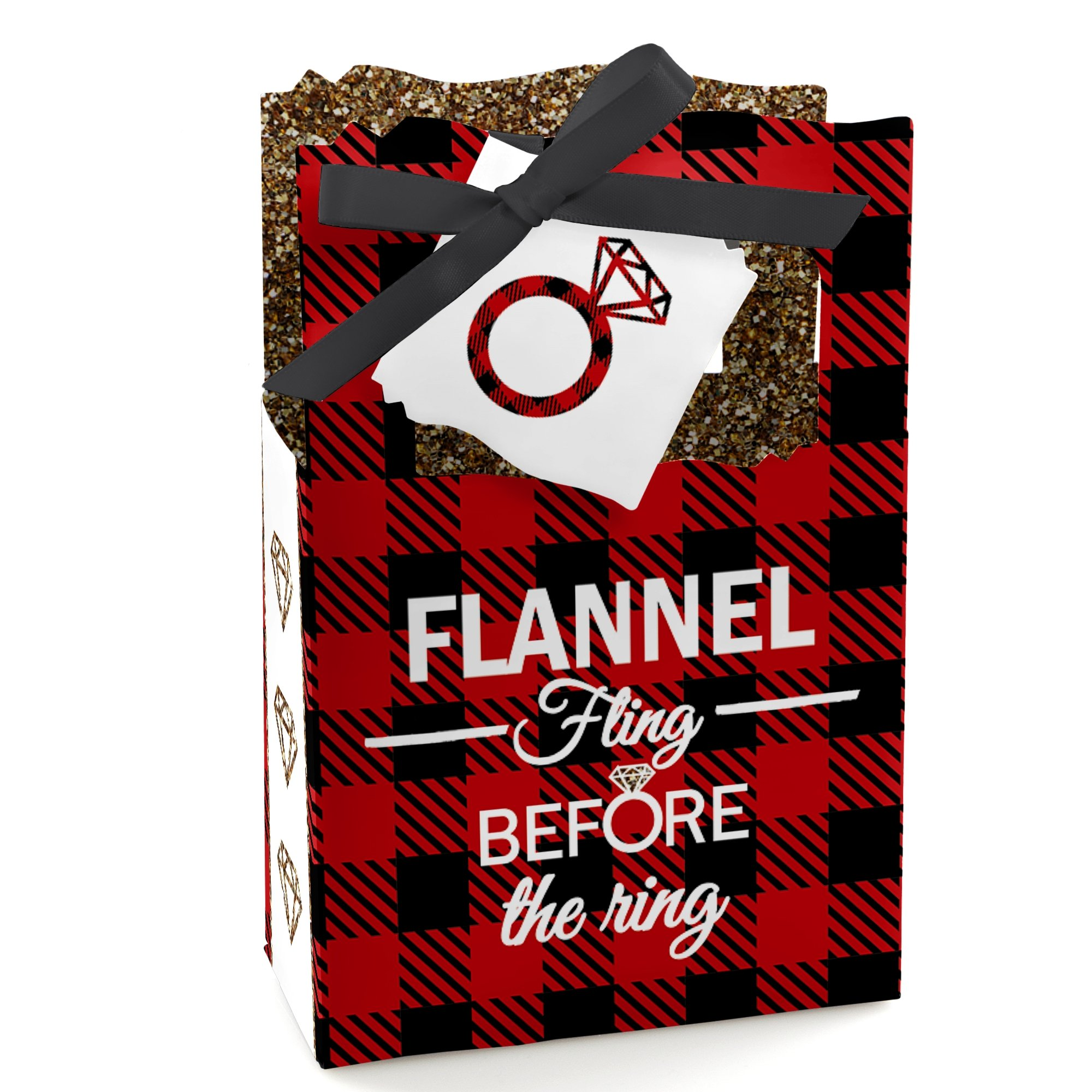Big Dot of Happiness Flannel Fling Before The Ring - Buffalo Plaid Bachelorette Party Favor Boxes - Set of 12 by Big Dot of Happiness