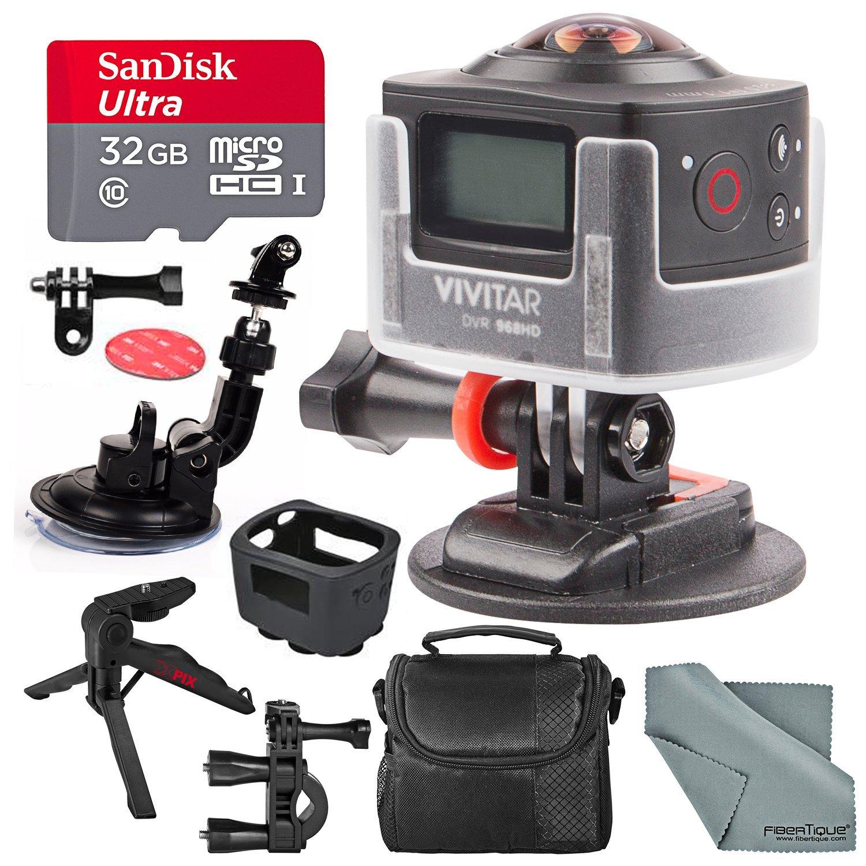 Vivitar DVR968HD 180° Wi-Fi Action Camera Camcorder Bundle with Mount + 32GB + Xpix Tripod + Case + Fibertique Cloth