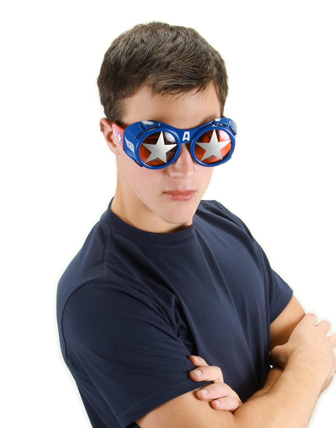 elope Marvel Men's Captain America Goggle Glasses Red/Silver/Blue One Size 301531