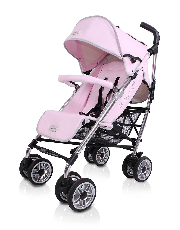 BabyLuxe - Silla de paseo - Chasis plata, base piel rosa ...