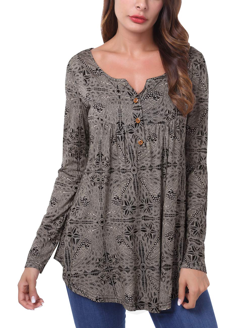 DJT FASHION Women's Pleated Long Sleeve Henley Shirt Button Flare Tunic Tops XX-Large Black Print
