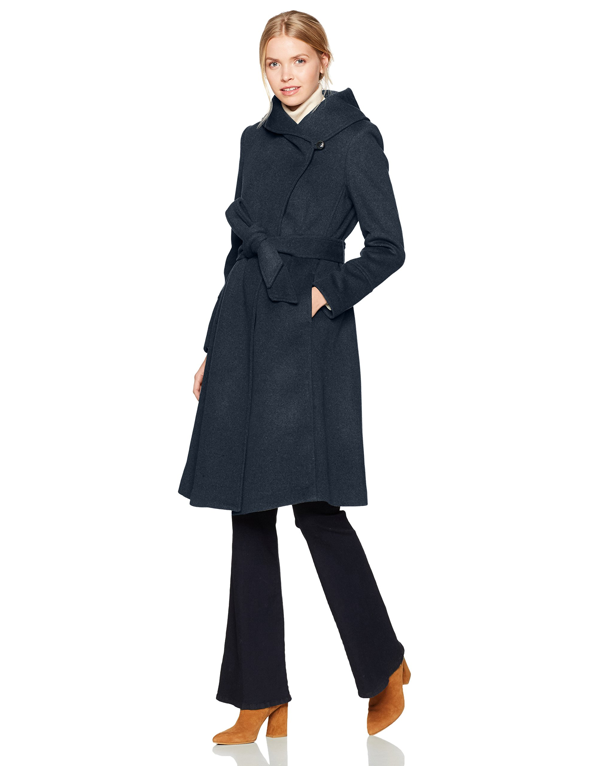 Cole Haan Women's Luxury Wool Asymmetrical Coat With Oversized Shawl Collar, Dark Navy, 6