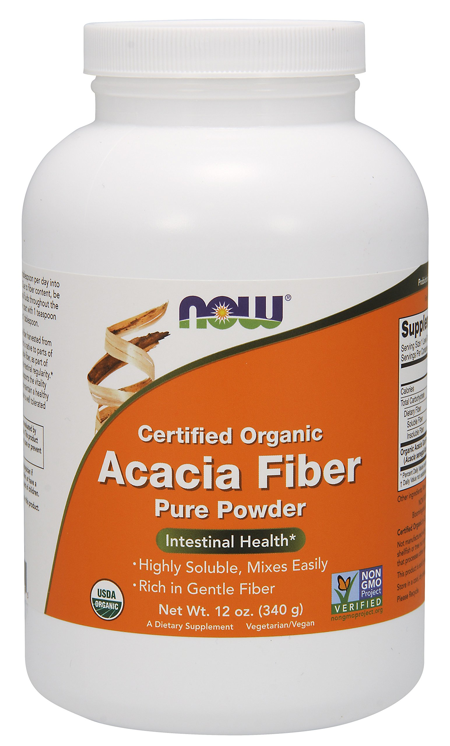 NOW Supplements, Organic Acacia Fiber Powder, 12-Ounce by NOW Foods