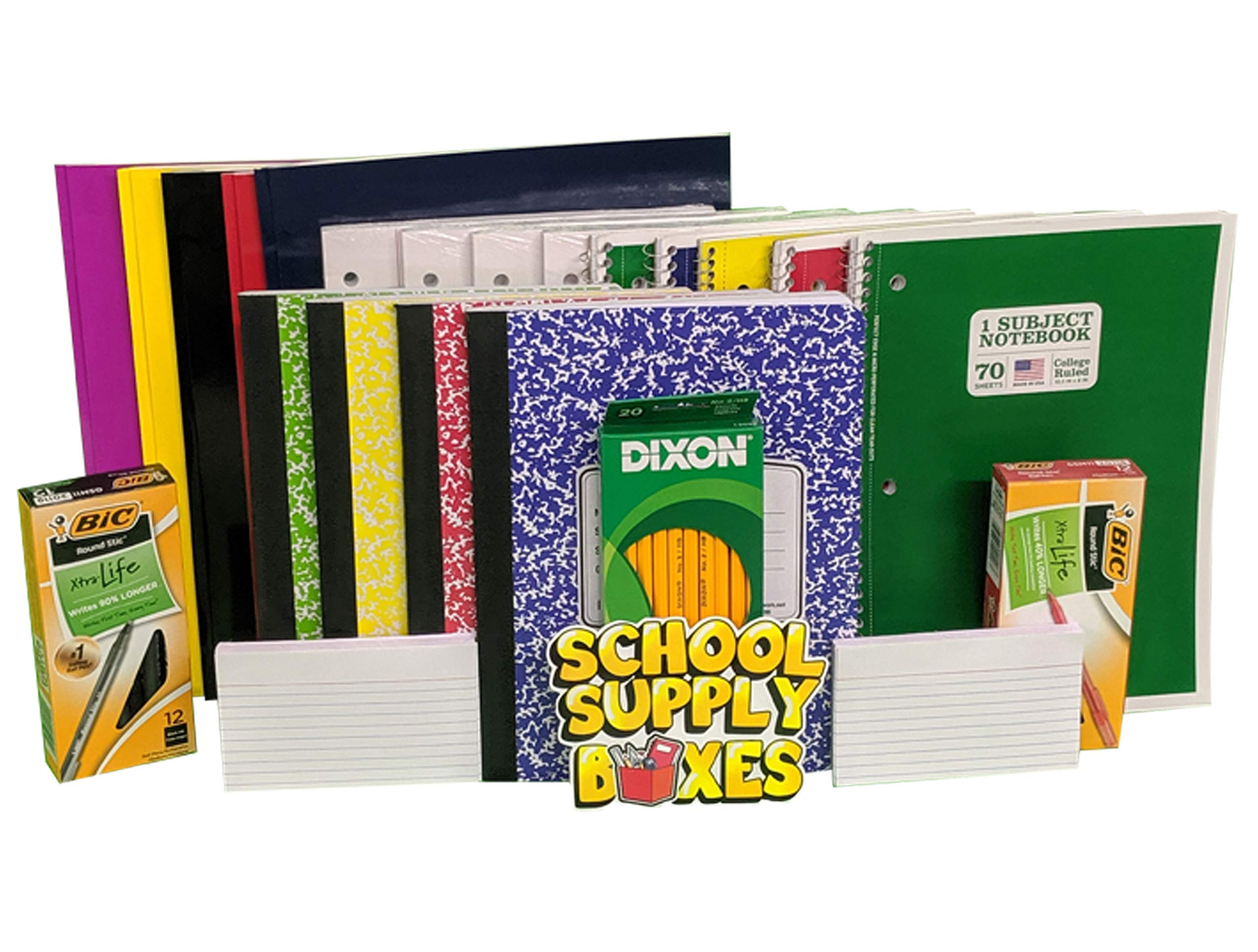 High School Writing Bundle - Back to School Essentials for Elementary Students - Includes Folders, Notebooks, Composition Notebooks, Filler Paper, Index Cards, #2 Pencils, Black Pens, and Red Pens