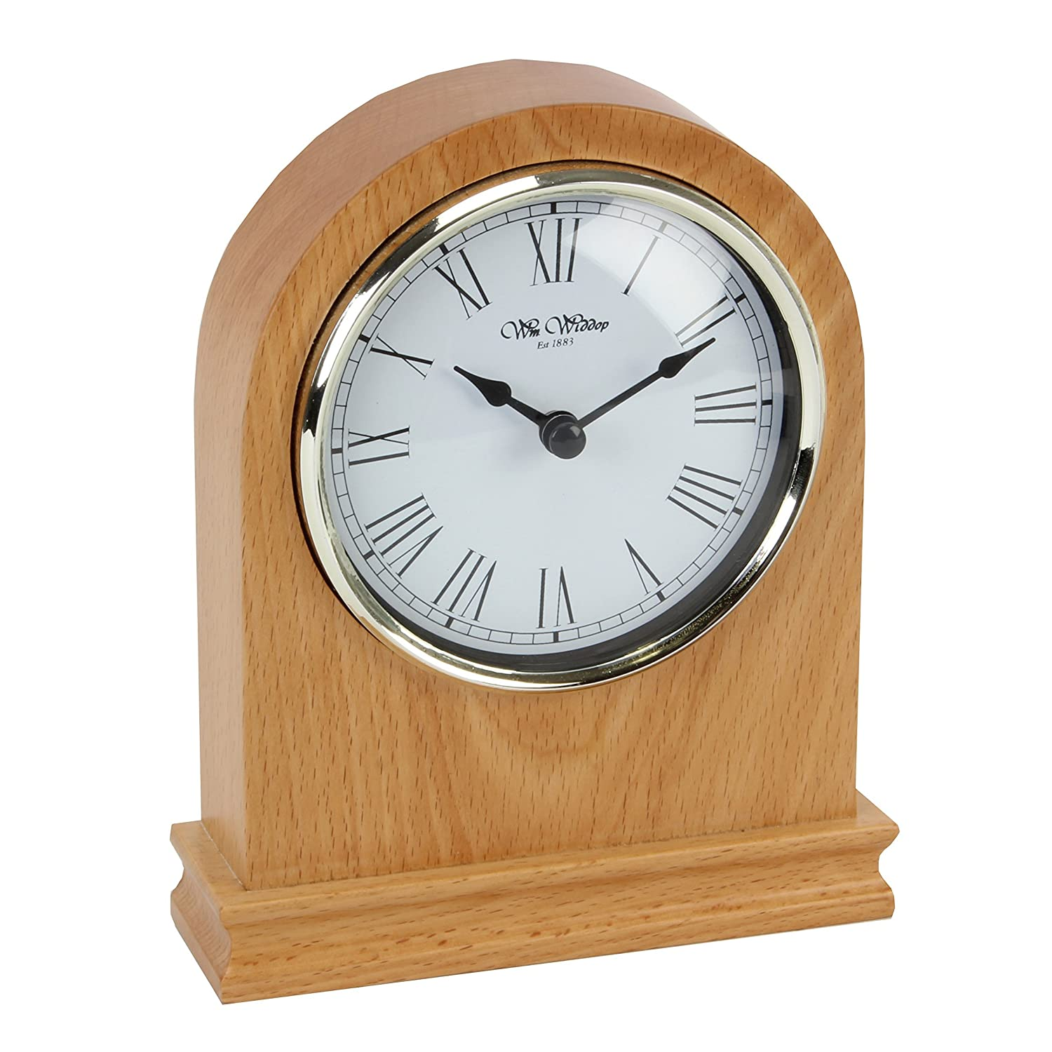 Arched Design Wooden Mantel Clock with Roman Numerals Watching Clocks
