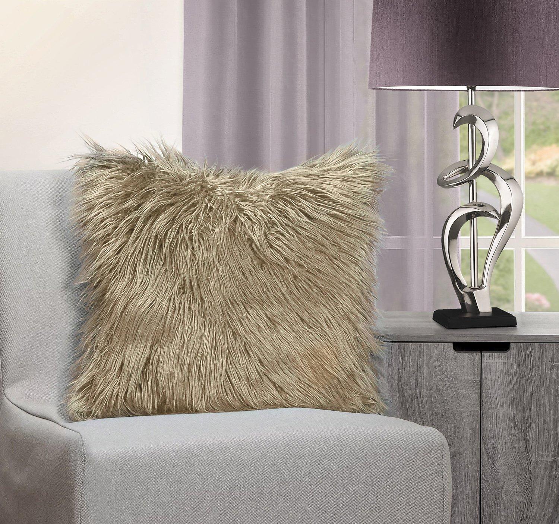 Velosso - Housse de coussin en fourrure synthétique de Mongolie - Douce et moelleuse - 43x43cm, Polyester, Red, 43x43cms Generic
