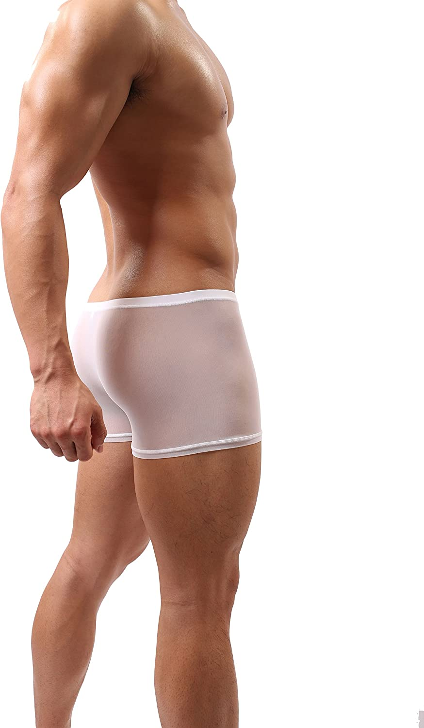 DomiGe Mens Sheer Mesh See-Through Boxer Trunks Underwear White Color (5008)