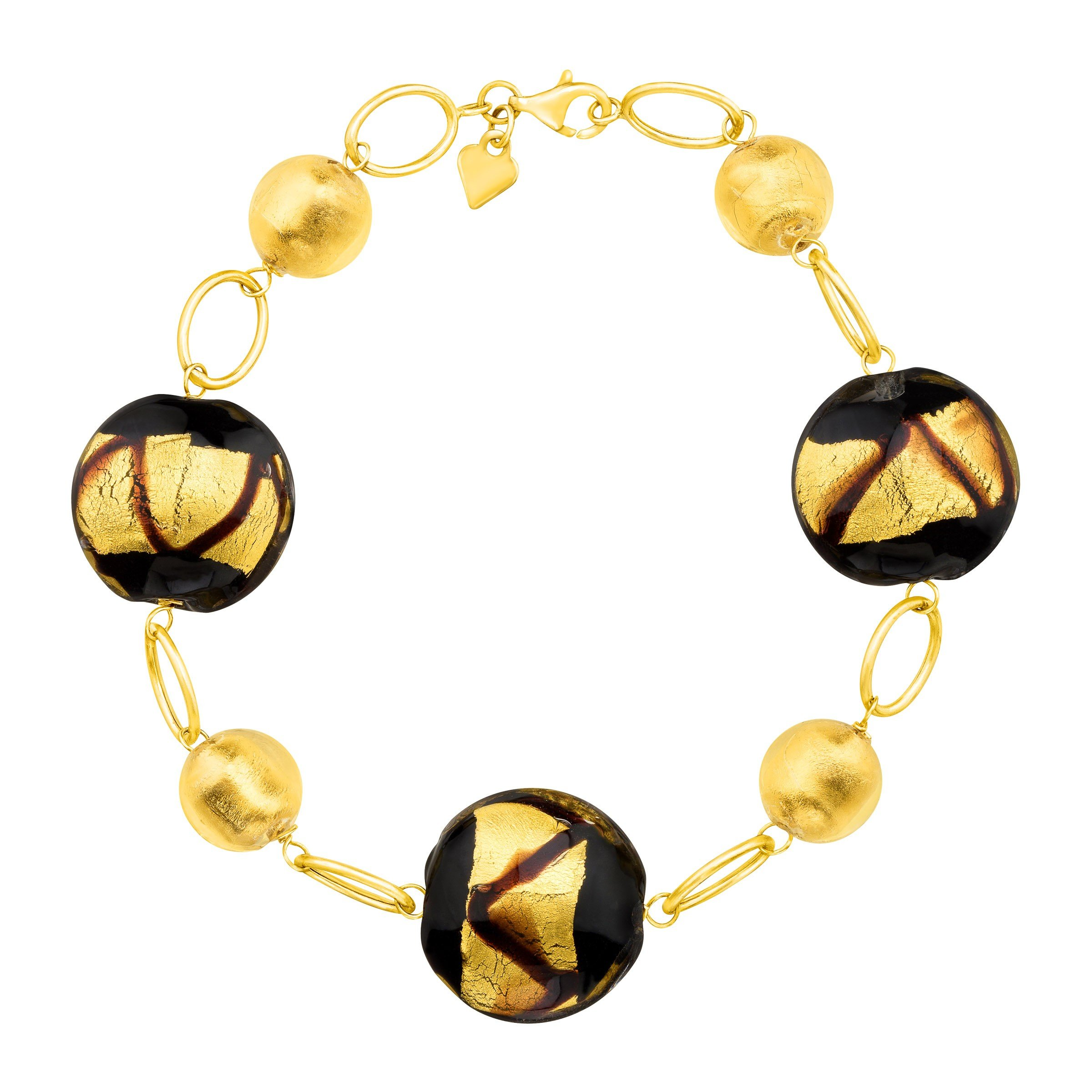 Murano Glass Bead Link Bracelet in 14K Gold