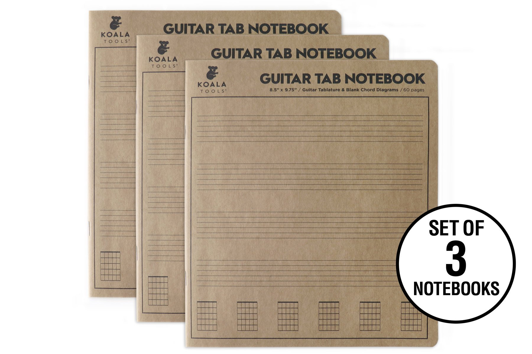 Koala Tools | Guitar Tablature - Guitar Tab Notebook (3 Pack) | 8.5'' x 9.75'' 60pp. - Blank Paper, Sheets for Music Chord Notation