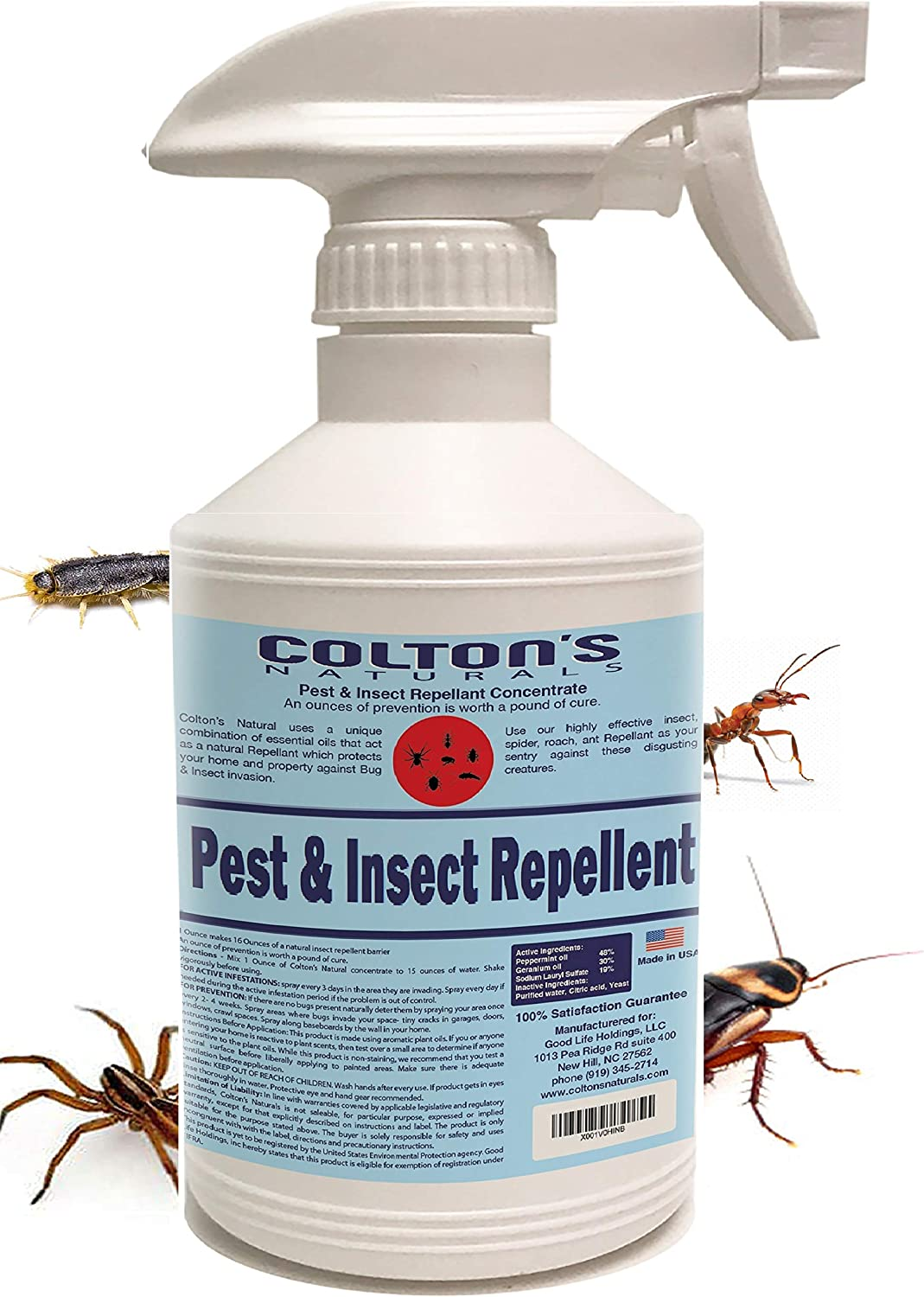 Home Pest Repellent Spray – Natural Pest Control – Useful Against House Roach, Spiders, Ants, Fleas – Fast Acting Pest Control Spray (16 Ounce)