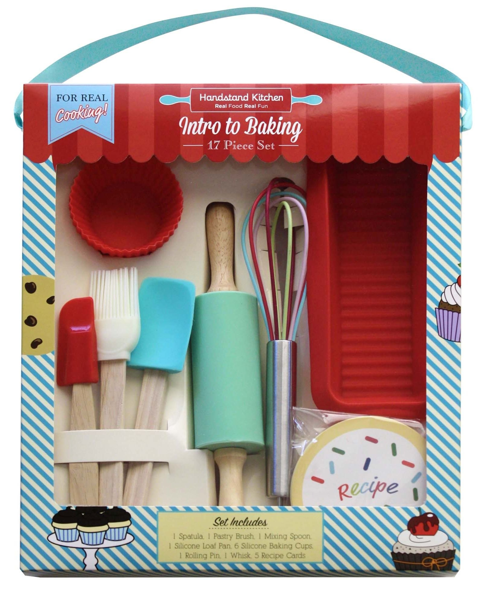 Handstand Kitchen 17-piece Introduction to Real Baking Set with Recipes for Kids by Handstand Kitchen