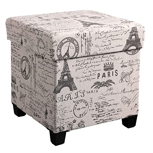 SONGMICS Storage Ottoman, Padded Folding Bench, Chest with Lid, Solid Wood Feet, Space-Saving, Holds up to 660 lb, Eiffel Tower Pattern ULSF14X