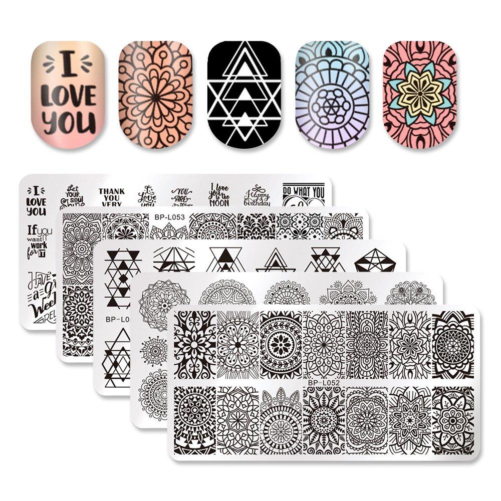 Born Pretty 5Pcs 12 * 6cm Plaque de Stamping Rectangulaire Nail Art Image L051-055