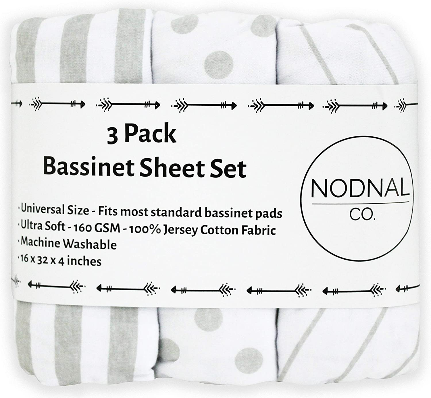 VOLHA/&CO Bassinet Fitted Sheets for Infant Bassinet 100/% Jersey Cotton 3 Pack