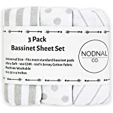 NODNAL CO. Bassinet Fitted Sheet Set 3 Pack 100% Jersey Gray Cotton for Baby Girl/Boy - Grey Chevron, Polka Dot and…