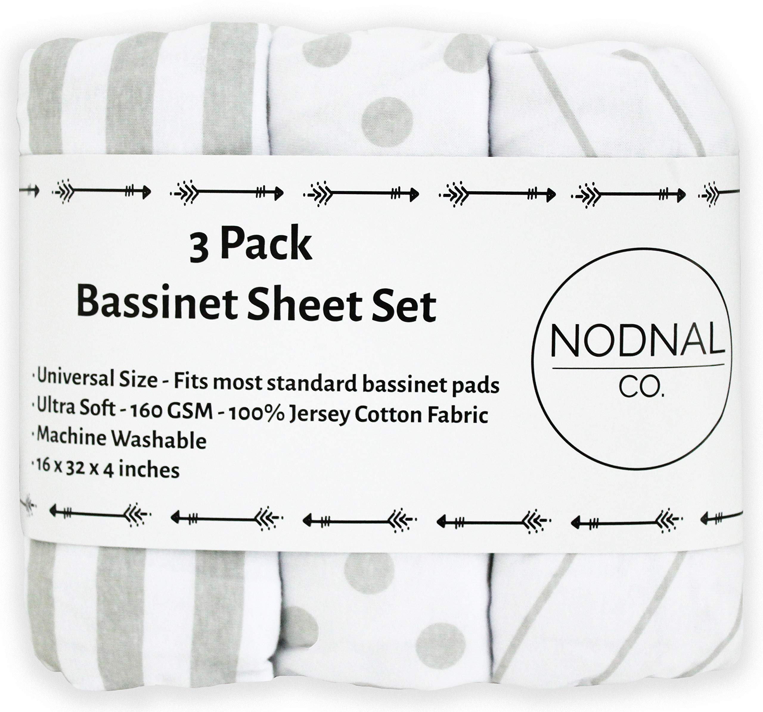 NODNAL CO. Bassinet Fitted Sheet Set 3 Pack 100% Jersey Gray Cotton for Baby Girl/Boy - Grey Chevron, Polka Dot and Stripe 160 GSM Sheets by NODNAL CO.