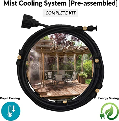 Espak Outdoor Patio Preassembled Misting Cooling System – 10m 38.8 Feet Patio Mister 3 4 Adapter 10 Brass Sprayers Garden Cooling System